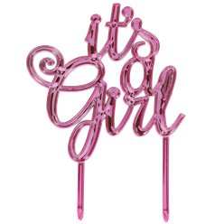 It's A Girl Metallic Roze Baby Shower & Kraamfeest Taart Topper