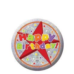 Happy Birthday Holografische Button - 5.5 cm