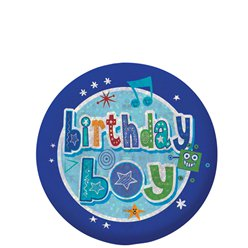 Happy Birthday Holografische Jongens Button - 5.5 cm