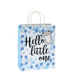 Blauwe Stippen Hello Little One Medium Cadeautas - 25 cm