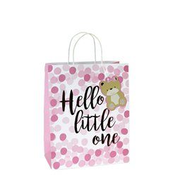 Roze Stippen Hello Little One Medium Cadeautas - 25 cm