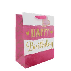 Roze Strepen Happy Birthday Medium Cadeautas - 33 cm