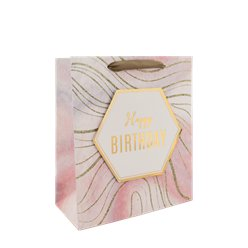 Marmeren Happy Birthday Medium Cadeautas - 25 cm