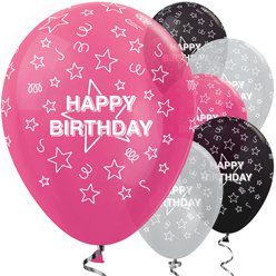 Happy Birthday Roze Mix Sterren - 30 cm Latex