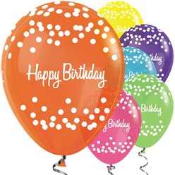 Happy Birthday Tropische Mix Stippen Ballonnen - 30 cm Latex