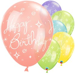 Happy Birthday Glitter & Swirls Ballonnen - 28 cm Latex