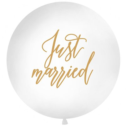 Gouden Just Married Reuze Ballon - 91 cm Latex