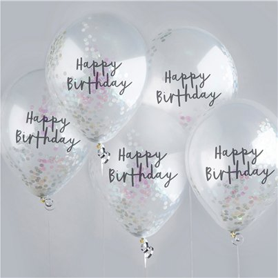 Happy Birthday Roze Iriserende Confetti Ballonnen - 30 cm Latex