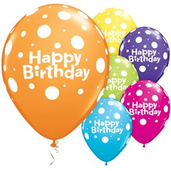 Happy BirthdayGrote Stippen Ballonnen - 28cm Latex