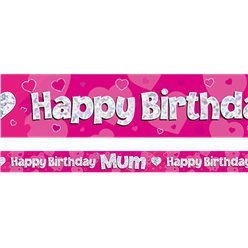 Happy Birthday Mama Roze Folie Banner - 2.7m