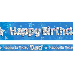Happy Birthday Papa Blauwe Banner - 2.7m