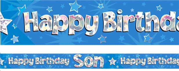Happy Birthday Zoon Blauwe Folie Banner - 2.7m