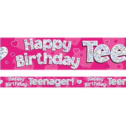 Happy Birthday Tiener Roze Folie Banner - 2.7m