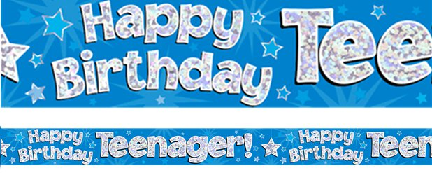Happy Birthday Tiener Blauwe Folie Banner - 2.7m