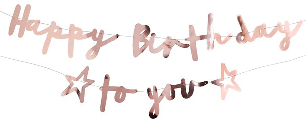 Happy Birthday to You Roze Gouden Letter Banner