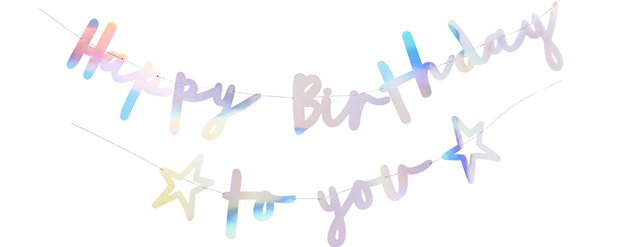 Happy Birthday to You Iriserende Letter Banner