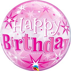 'Happy Birthday' Roze Glitter Bubbel Ballon - 56 cm