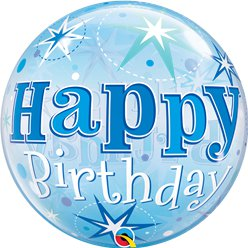 'Happy Birthday' Blauwe Glitter Bubbel Ballon - 56 cm