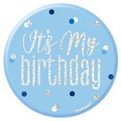 "Blauwe Verjaardag Glitter ""Its my Birthday"" Button"