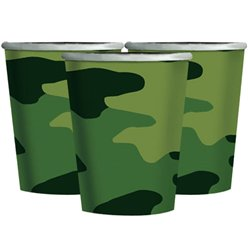 Camouflage Feest Bekers - 266 ml Papier