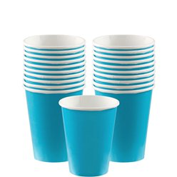 Turquoise Bekers - 266 ml Papieren Feestbekers