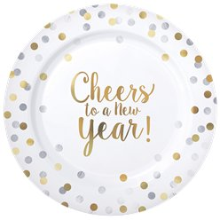'Cheers to a New Year' Premium Plastic Borden - 26 cm