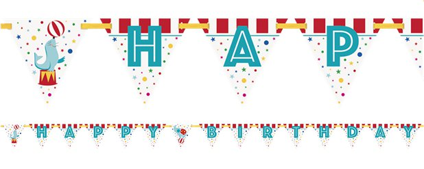 Circus Carnaval Happy Birthday Banner