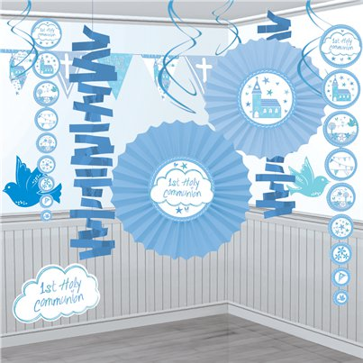 1e Heilige Communie Blauwe Decoratie Set