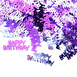 Roze Happy Birthday Tafel/Uitnodiging Confetti