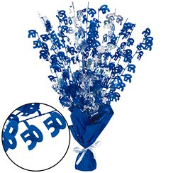 50th Blue Foil Centrepiece - Table Decoration 43cm