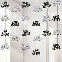 Happy Birthday Zwarte Hangende String Decoraties - 1.5 m