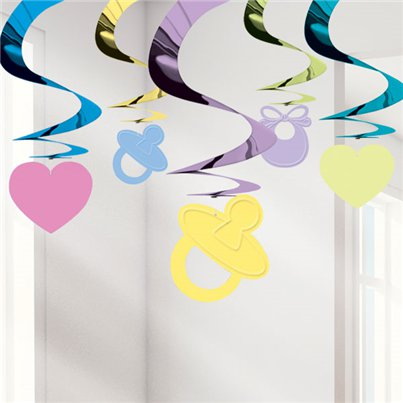 Baby Shower Hangende Swirl Decoratie - 61 cm