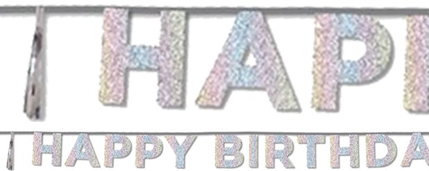 Happy Birthday Iriserende Glitter Letter Banner - 3.5m