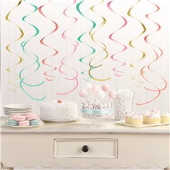 Pastel Hangende Swirl Decoraties