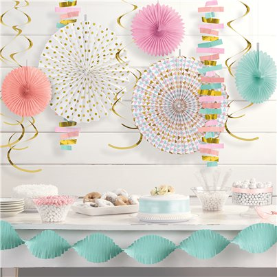 Pastel Papieren Decoratie Set - Papier en Folie Hangende Decoraties