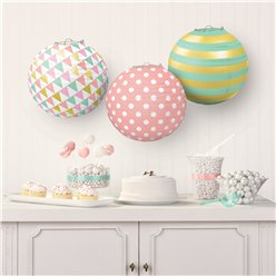 Pastel & Metallic Papieren Lampion Decoraties - 24 cm