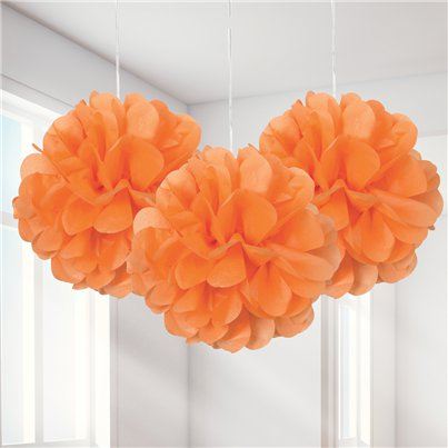 Oranje Pompon Decoraties - 23 cm