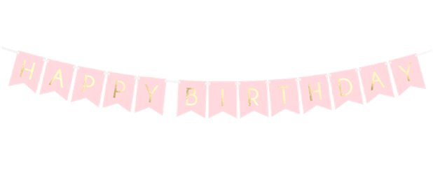 Pastel Roze & Gouden Happy Birthday Banners - 1.7m