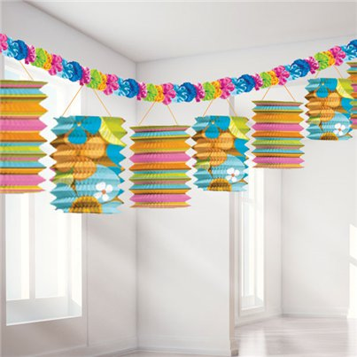 Papieren Lampion Slinger - 3.7 m Hawaiiaanse Decoraties