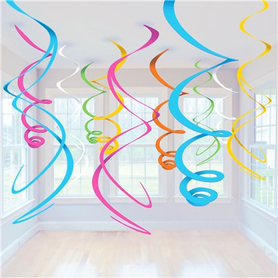 Meerkleurige Hangende Swirls Decoraties - 55 cm