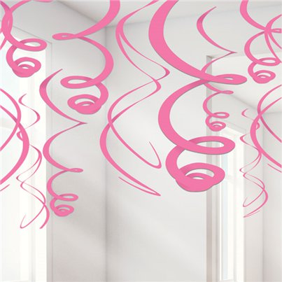 Roze Hangende Swirls Decoraties - 55 cm