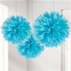 Turquoise Pompon Decoraties - 40 cm