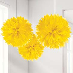 Gele Pompon Decorations - 40 cm