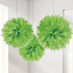 Limoengroene Pompon Decoraties - 40cm