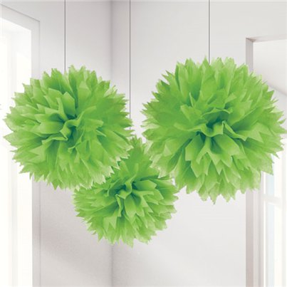 Limoengroene Pompon Decoraties - 40 cm