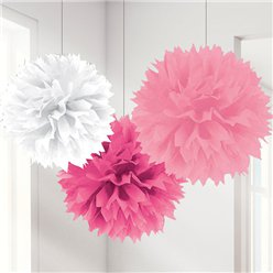 Roze Mix Pompon Decoraties - 40 cm
