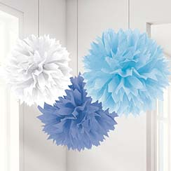 Blauwe Mix Pompon Decoraties - 40 cm