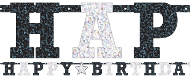 Black & White Prismatic Letter Banner
