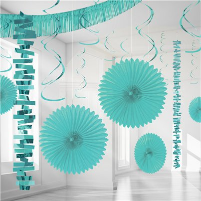 Turquoise Papier & Folie Kamer Decoratie Set