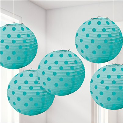 Turquoise Folie Stippen Hangende Decoraties